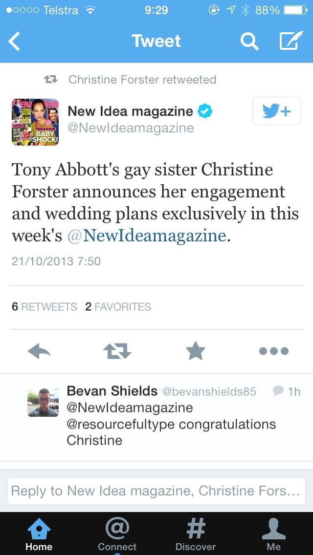 christine forster engagement tweet